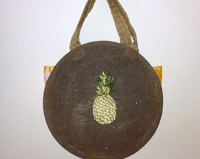 handbag fabric pattern pineapple, Brown, round bag, beach, shopping, leisure, large bag, tassels, trend,