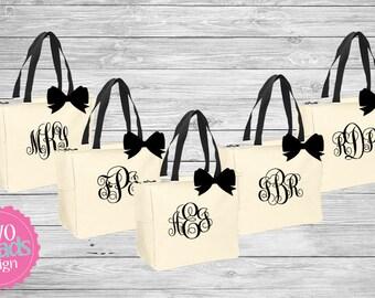 Zipper Bridesmaid Totes , Bridesmaid Gifts, Charcoal Totes, Gray Totes, Bridal Party Gift, Bridesmaid Tote Bag, Personalized Wedding Bag