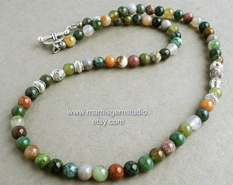 Mens Beaded Necklace, Green & Earthy Multi-color Fancy Jasper, Natural Stone Men's Jewelry, Handmade