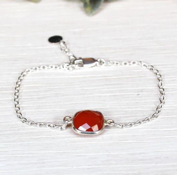 women chain carnelian gem stone bracelet 925 sterling silver