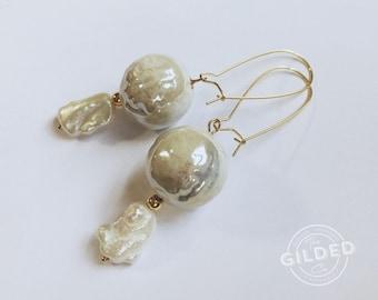 Stellan's Drops — ceramic glazed iridescent beads baroque pearls, gold-filled beads, nacre, wedding, minimalist boho statement, white, bride