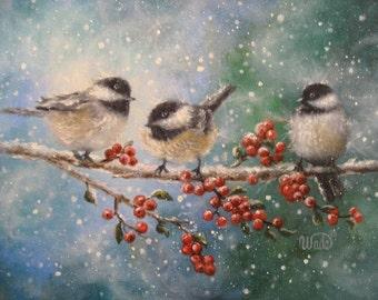 Chickadee Bird Print bird paintings, winter birds, chickadee paintings, red berries, snow birds, three birds, Vickie Wade Art