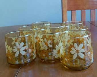 Amber glass daisy tumblers - set of 8