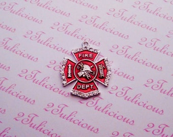 Maltese Shield, FIREFIGHTER, CROSS, Crystal, PENDANT, Occupation, antique silver, jewelry