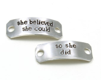 Shoe Tags - Running Accessories - She Believed She Could - Running Gifts - Marathon Gift - Cross Country - Track And Field