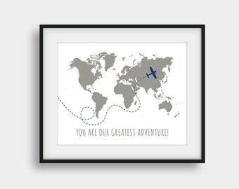 60% OFF You Are Our Greatest Adventure World Map, Nursery Print, Baby Boy Room Wall Art, Boys Room Decor, Navy Grey Decor, Kids Room Decor