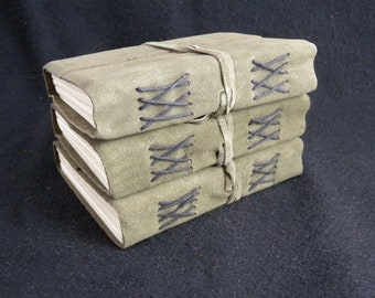 Bargain Set of THREE Suede 'Ragged' Pocket Journals - Pages of Cartridge Art Paper