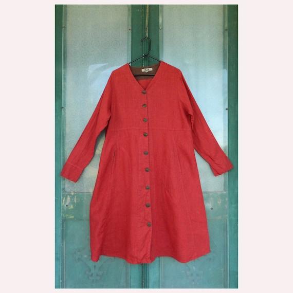FLAX Engelheart Dress Coat -M-  Brick Red Linen