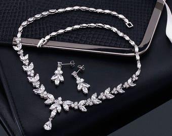 Wedding Necklace Set, Wedding Necklace, Bridal Necklace Set, Bridal Necklace, Crystal Necklace Set, Crystal Necklace, Bridesmaids Necklace