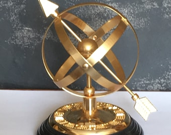 Brass Armillary Sphere and Arrow Sundial Black Marble Base