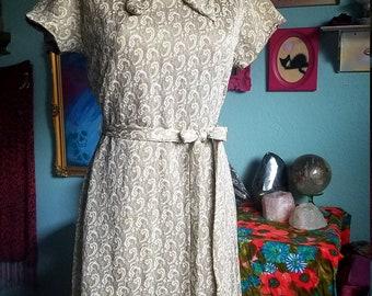 1960s Metallic Paisley Sailor Dress