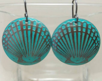 Etched Copper Scallop Seashell Earrings