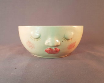 Handmade Ceramic Serving Bowl, Serving Bowl with Sleepy Face, Novelty Serving Bowl, Handmade Pottery Bowl with Face