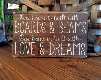"""Our House is built with Boards and Beams, Our Home is built with Love and Dreams (12"""" x 7.25"""")"""