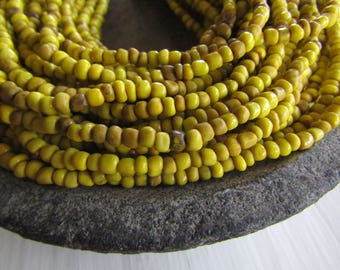 yellow seed beads, opaque  yellow glass beads, gritty organic barrel rondelle Indonesian  bead - 1.5  to 4mm /  44 inch - 7AB30-3