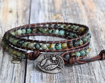 African Turquoise Wrap Bracelet, Beaded Wrap Bracelet, Wrap Bracelet, Leather Wrap Bracelet, Turquoise Wrap Bracelet, Beaded Turquoise Wrap