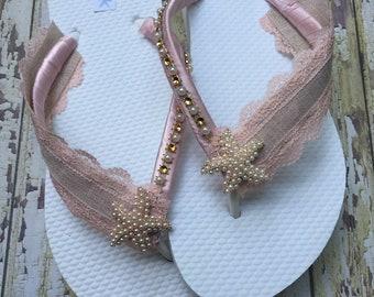 Blush Starfish Bridal Flip Flops Rustic Beach Sandals Starfish Dancing Shoes Pink Bridal Shoes Wedding Flip Flops Beach Wedding Shoes Size 7