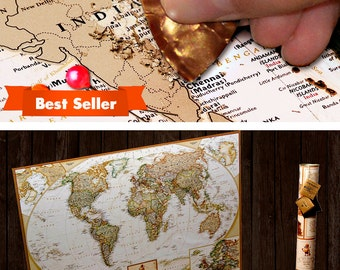 Paper Anniversary Gift for Him - scratch off travel map with push pins