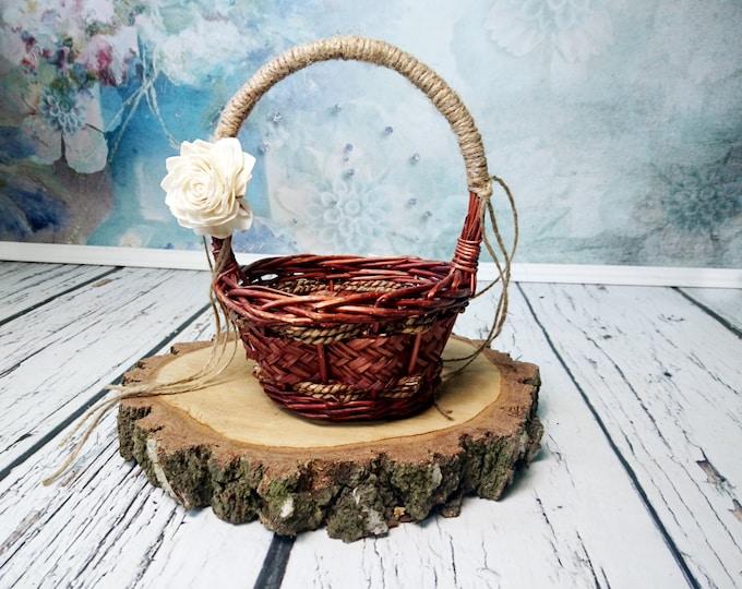 Small Flower girl basket burlap lace sola flower ivory brown rustic woodland summer spring wedding vintage custom