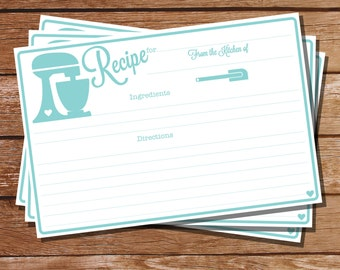 Printable Recipe Card - Duckegg Blue KitchenAid Recipe Cards - Instant Download - Print at Home with Adobe Reader