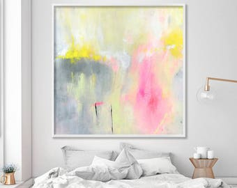 Large art prints Yellow and grey decor with pink Beautiful Nursery print of abstract painting large canvas art by Duealberi