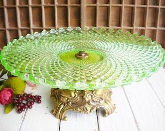 English Hobnail Green Cake Stand  Vaseline Glass Hobnail Collectable 12 Inch Vintage Wedding Cake Stand , Heirloom Cake Stand. Collectable