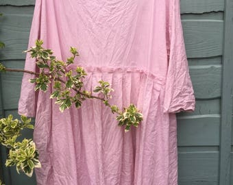 Pink Cotton dress silk OSFA boho peony rose empire line Oversized festival smock prairie gypsy made to order quirky raw edge RitaNoTiara