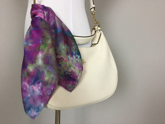 "20"" Purse Scarf or Luggage Identifer, 100% Silk Satin,  Ice Dye Tie Dye Blue Purple Pink Green Purse Scarves #206"