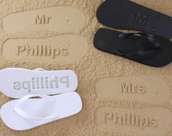 MR and MRS Bridal Flip Flops - Personalized Sand Imprint Flip Flops (listing is for ONE pair) *check size chart, see 3rd product photo*