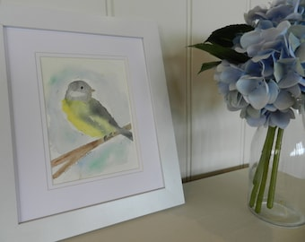 A6 INSTANT DOWNLOAD watercolour Print Yellow Bird on Branch Wall Art Decor Bird Painting Birthday Gift Idea House Warming Gift for Mom Mum