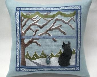 Cat In Winter Window Cross Stitch Mini Pillow, Black Cat, Snow Scene