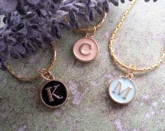 Pastel Initial necklace / Monogram necklace / Initial necklace / Colorful charm necklace / Letter Charm / Letter Necklace / Bridesmaids gift