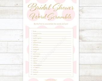 gold and pink bridal shower word scramble printable game pink gold glitter wedding shower digital games - INSTANT DOWNLOAD