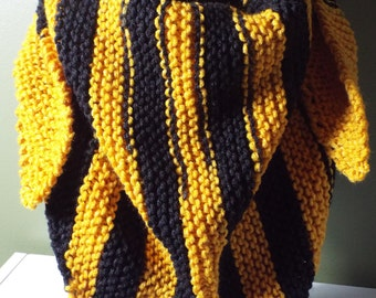 Black and Gold Hand Knit Triangle Scarf - Cheer on Arkansas, Colorado, Missouri, Southern Mississippi or Iowa