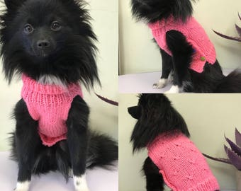 Pink hand knitted made to order dogs jumper
