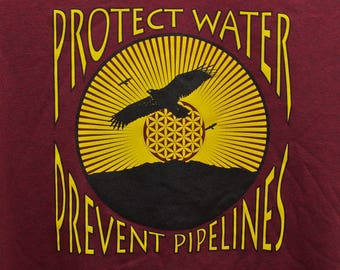Protect Water Prevent Pipelines T Shirt Heather Cardinal