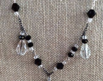 """Black and Crystal 24"""" Beaded Necklace and Earring Set"""