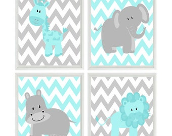 Aqua Gray Nursery - Chevron Elephant Giraffe Hippo Lion Safari Wall Art Print Set   - Children Kid Room Home Decor Wall Art