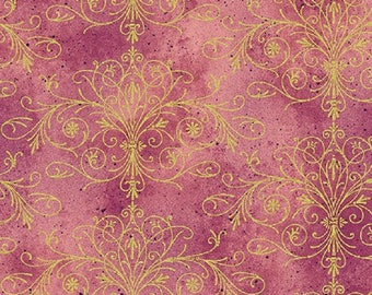 Pink Floral Impressions Washed Tonal Filigree Rose Gold Fabric