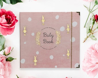 BABY MEMORY BOOK | Baby Keepsake Book | Binder Memory Book | Journals and Albums | Flamingo Pink Modern Baby Book | Baby Shower Gift