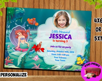 Mermaid, Birthday Invitation, Mermaid Girl. Mermaid Girl Invitation, Mermaid Girl Birthday Invitation. Girl Invitation.