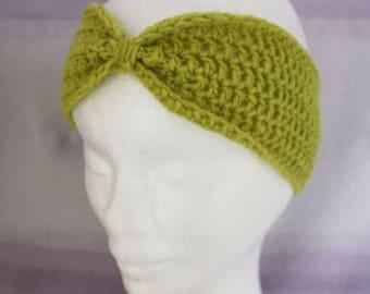 Handmade Crochet Green Headband Medium