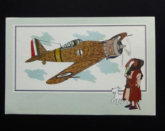 Tintin. Chromo Tintin. See and know. Aviation. War 1939-1945. Series 1. N 10. G - 50 Freccia Fiat. 1937 Italy