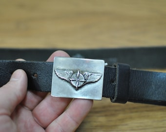 Vintage LEATHER BELT with metal buckle ....