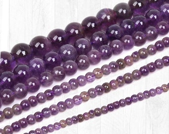 Amethyst Beads - 4mm, 6mm, 8mm, 10mm, 12mm, Natural Gemstone Beads, Purple Beads, Round Beads, Full Strand -  U.S SELLER Fast Shipping