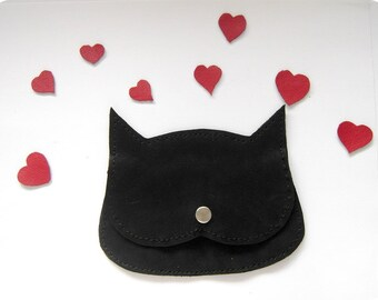 the cat in love. Black leather Cat coin purse, Cat in love little pouch, red confetti