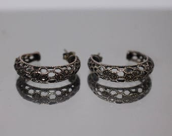 925 - Vintage Marcasite Half Hoop Earrings in Sterling Silver w/ Patina