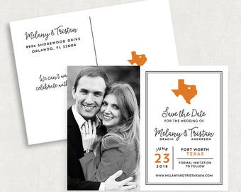 Texas Save the Date Postcards, Destination Wedding Save the Date Postcards, State Save the Date Postcards, Printable Save the Dates, DIY