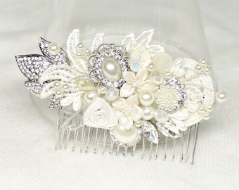 Bridal Hairpiece- Bridal Hair Accessories- Bridal Hair Comb- Pearl Bridal Comb- Rhinestone and Pearl Hairclip- Vintage Inspired Bridal Comb