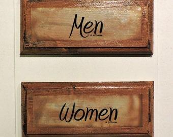 "Vintage Look ""Men"" and ""Women"" Restroom Signs"